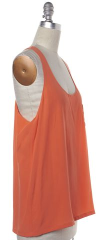 ALEXANDER WANG Orange Silk Sleeveless Top Size S