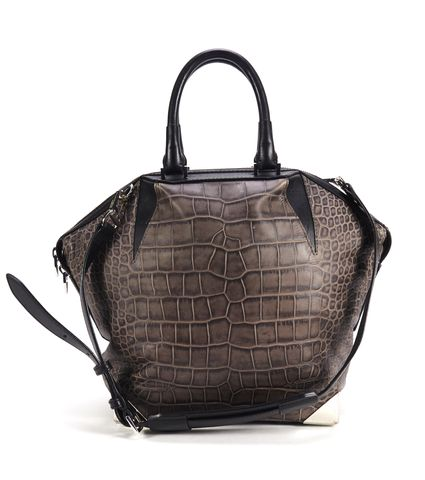 ALEXANDER WANG Authentic $1045 Gray Leather Embossed Emile Satchel Bag