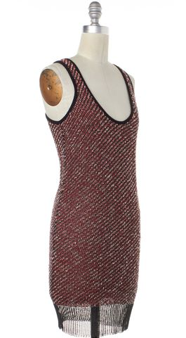 ALEXANDER WANG Red Black Tweed Sleeveless Sheath Dress Size XS