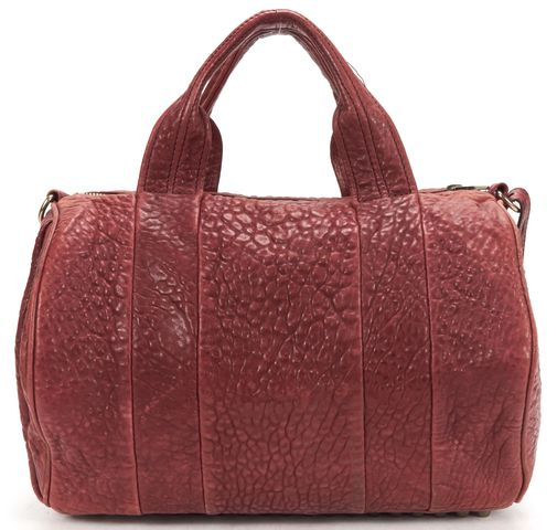 ALEXANDER WANG Authentic Burgundy Red Leather Rocco Top Handle Shoulder Bag