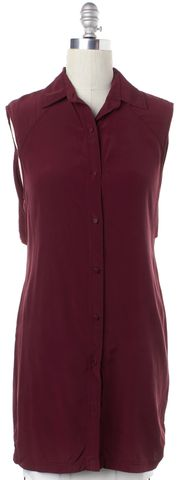 ALEXANDER WANG Burgundy Red Silk Button Down Shirt Dress Size 6
