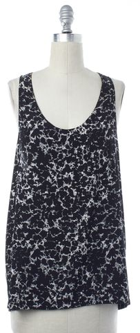 ALEXANDER WANG Black Ivory Abstract Printed Racerback Tank Top Size S