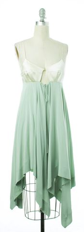 ALEXANDER WANG Ivory Mint Green Colorblock Silk Fit & Flare Dress Size 2