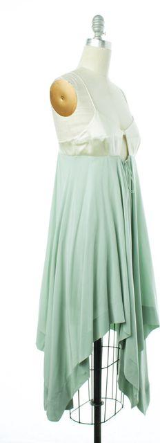 ALEXANDER WANG Ivory Mint Green Colorblock Silk Fit & Flare Dress