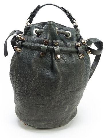 ALEXANDER WANG Green Textured Leather Diego Studded Bucket Shoulder Bag