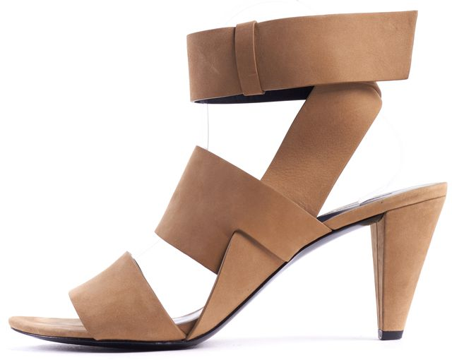 ALEXANDER WANG Tan Suede Double Strap Heels