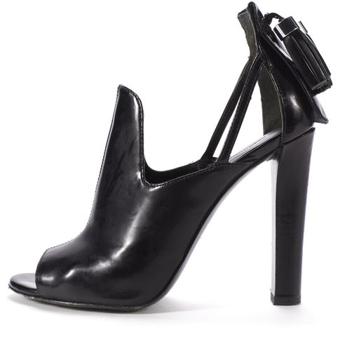 ALEXANDER WANG Black Leather Tassels Back Cut Out Open Toe Heels