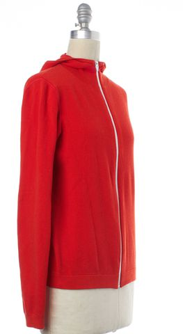 ALEXANDER WANG Red White Trim Zip Up Hooded Sweater Size XS