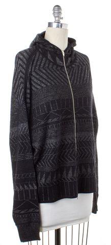 ALEXANDER WANG Gray Geometric Wool Hoodie Sweater Size L