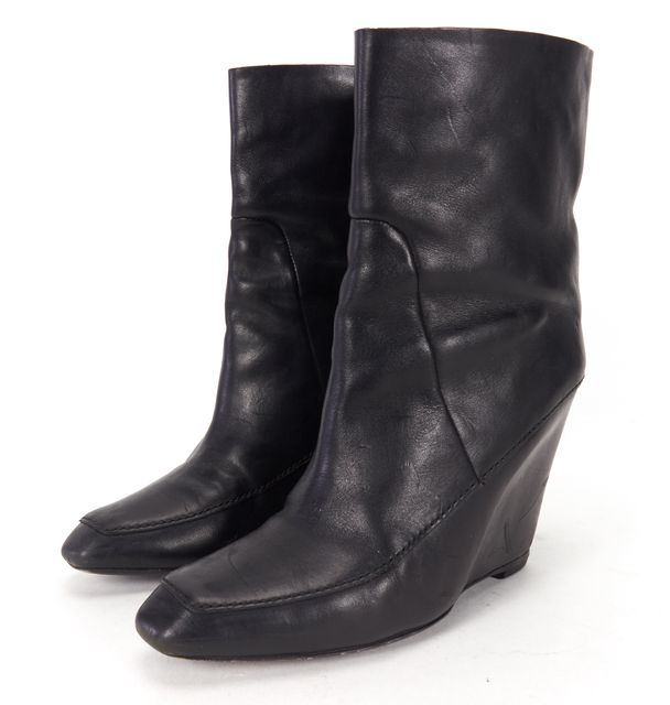 ALEXANDER WANG Black Leather Wedge Ankle Boots