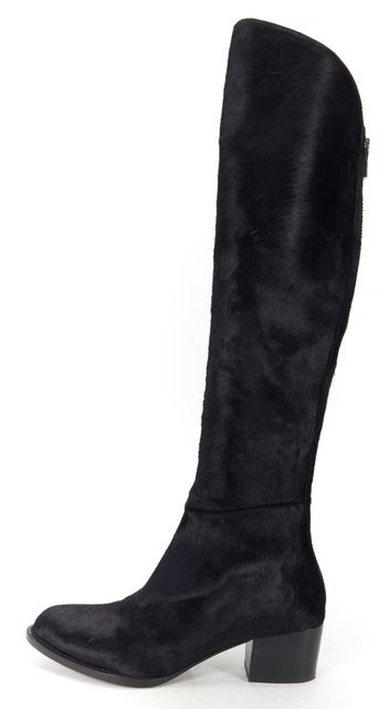 ALEXANDER WANG Black Calf Hair Knee High Sigrid Boots