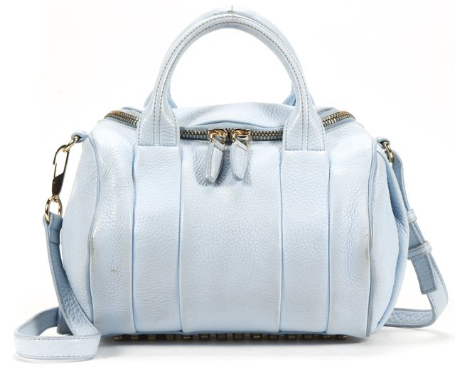 ALEXANDER WANG Baby Blue Leather Studded Rockie Crossbody Duffle Bag