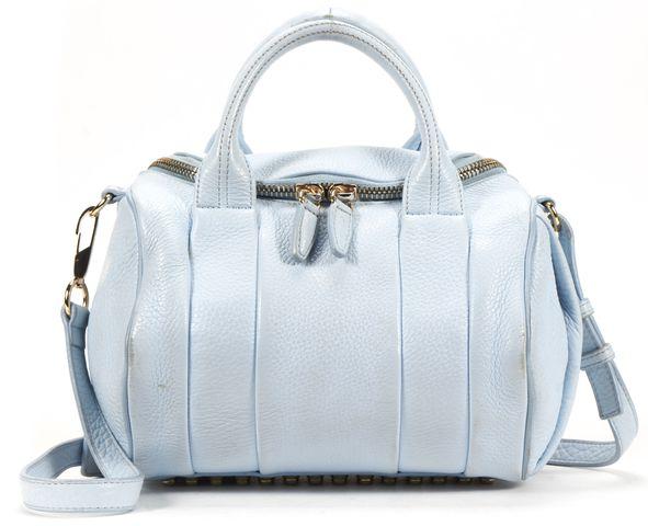 ALEXANDER WANG Auth Baby Blue Leather Studded Rockie Crossbody Duffle Bag