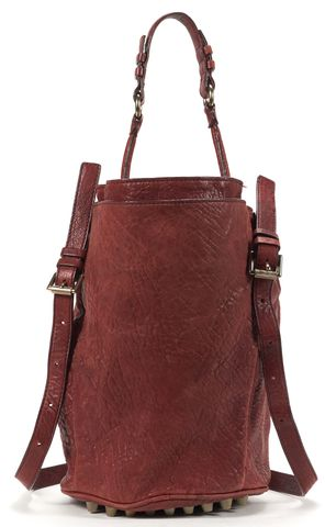 ALEXANDER WANG Auth Burgundy Distressed Leather Silver Hardware Diego Bucket Bag