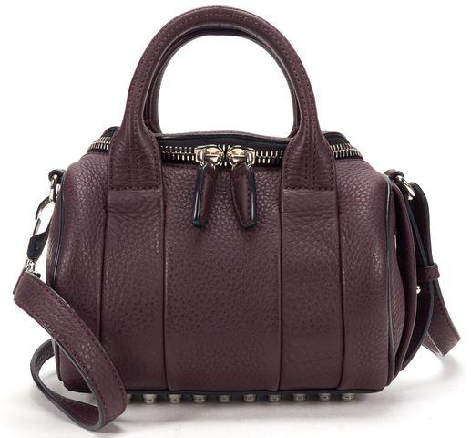 ALEXANDER WANG Oxblood Rhodium Pebbled Leather Mini Rockie Top Handle Bag
