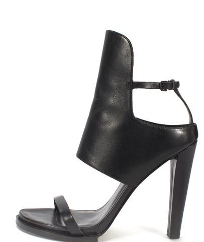 ALEXANDER WANG Black Leather Cuff Ankle Strap High Heel Sandals