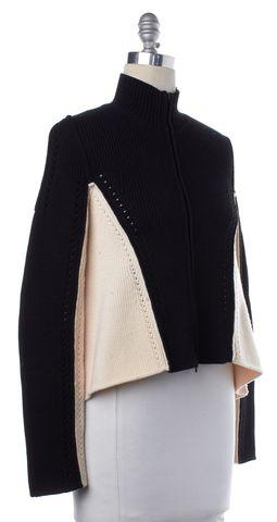 ALEXANDER WANG Black Ivory Merino Wool Zip Down Sweater Size M