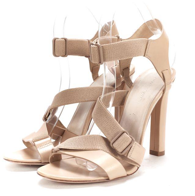 ALEXANDER WANG Beige Leather Elastic Fabric Strappy Open Toe Heel Sandal