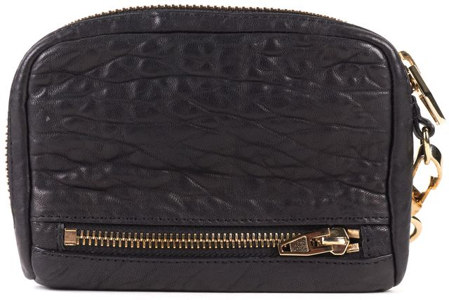 ALEXANDER WANG Authentic Black Pebbled Leather Large Fumo Wristlet Wallet