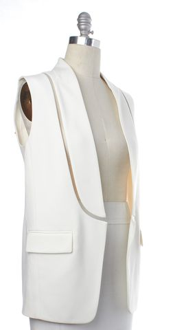 ALEXANDER WANG White Translucent Fishing Wire Detail Vest Size 2