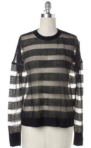 ALEXANDER WANG Black Sheer Snake Print Striped Knit Crewneck Sweater Size S