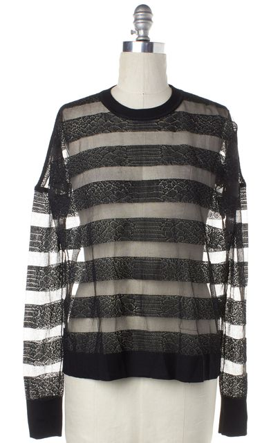 ALEXANDER WANG Black Sheer Snake Print Striped Knit Crewneck Sweater