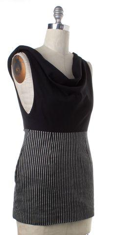 ALEXANDER WANG Black Gray Striped Draped Blouson Dress
