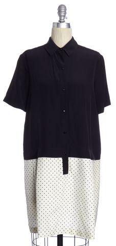 ALEXANDER WANG Black White Polka Dot Silk Sheath Dress Size 4