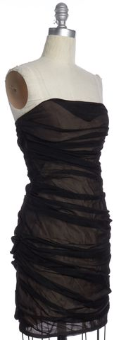 ALEXANDER WANG Black Beige Gathered Sheath Dress Size 8