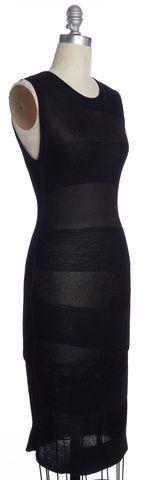 ALEXANDER WANG Black Striped Sheath Dress Size M