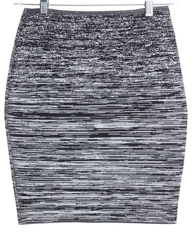ALEXANDER WANG Black White Abstract Pattern Knit Pencil Skirt Size S