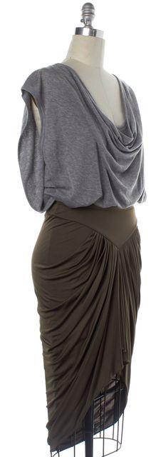 ALEXANDER WANG Gray Green Colorblock Ruched Blouson Dress