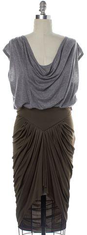 ALEXANDER WANG Gray Green Colorblock Ruched Blouson Dress Size 10
