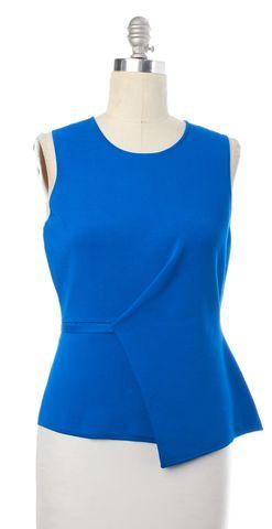 ALEXANDER WANG Blue Asymmetric Sleeveless Peplum Top Size L