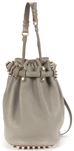 ALEXANDER WANG Gray Pebbled Leather Diego Bucket Tote Shoulder Bag