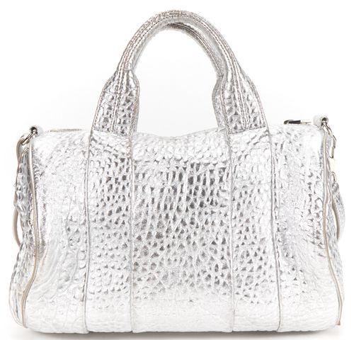 ALEXANDER WANG Authentic Silver Pebble Leather Rocco Top Handle Shoulder Bag