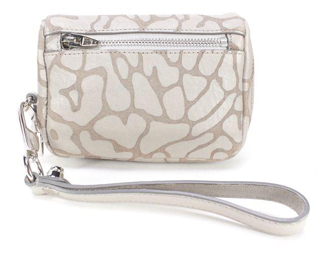 ALEXANDER WANG Light Concrete Gray Leopard Embossed Leather Fumo Wristlet Wallet