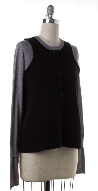ALEXANDER WANG Black Heather Gray Baseball Style Sweater
