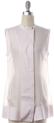 ALEXANDER WANG Pink Silk Sheer Sleeveless Button Down Shirt Top