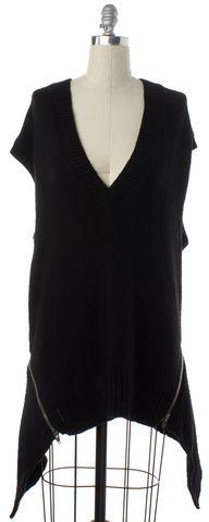 ALEXANDER WANG Black Merino Wool Knit Silverr Zipper Shift Dress
