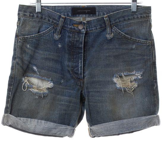 ALEXANDER WANG Blue Medium Wash Distressed Cuffed Denim Shorts