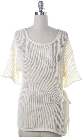 ALEXANDER WANG Ivory White Cut Out Knit Knit Top