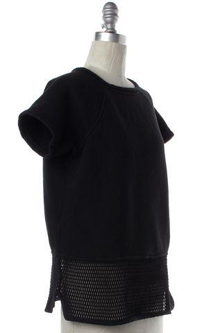 ALEXANDER WANG Black Cotton Mesh Panel Knit Top