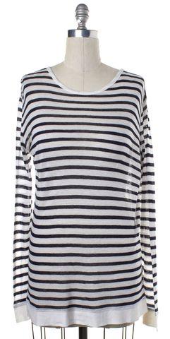 ALEXANDER WANG Navy Blue White Striped Knit Top
