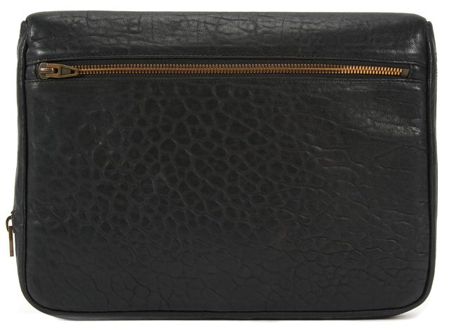 ALEXANDER WANG Black Pebbled Leather Zip Around Portfolio Clutch