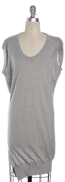 ALEXANDER WANG Light Gray Sleeveless Draped Open Back Knit Sweater Dress