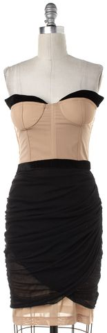 ALEXANDER WANG Black Nude Colorblock Strapless Rouched Bodycon Dress