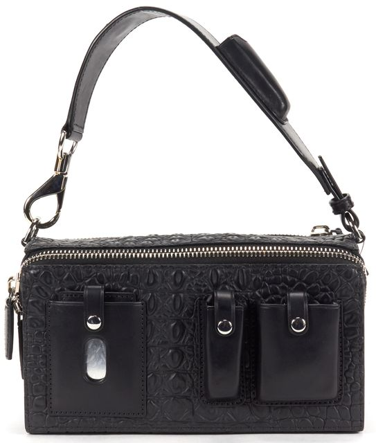 ALEXANDER WANG Black Croc Lizard Emboss Leather Survival Box Top Handle Bag