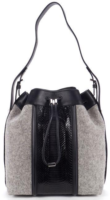 ALEXANDER WANG Gray Wool Black Snake Embossed Leather Bucket Tote Bag