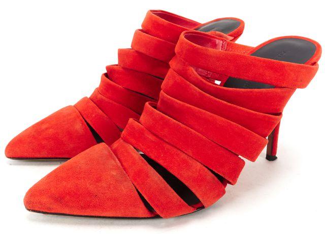 ALEXANDER WANG Orange Suede Caged Mule Heels